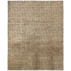 Hand Knotted European Style Rug Green and Beige Brown Floral Pattern
