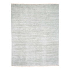 Hand Knotted Grass Design Wool and Silk Oriental Rug