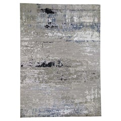 Hand Knotted Gray Abstract Design Wool and Silk Hand Knotted Rug,