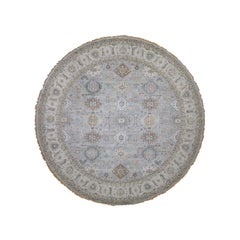 Hand Knotted Gray Pure Wool Round Hand Knotted Fine Oriental Rug