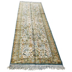 Hand Knotted Green Runner from Turkey