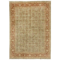 Hand Knotted Indian Mahal Design Carpet, Seafoam Colored Field, Red Borders