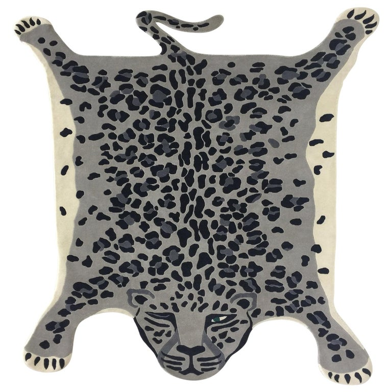 Hand Knotted Leopard New Zealand Wool Rug by Cecilia Setterdahl for Carpets CC For Sale