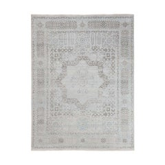 Hand Knotted Mamluk Design Pure Silk with Oxidized Wool Oriental