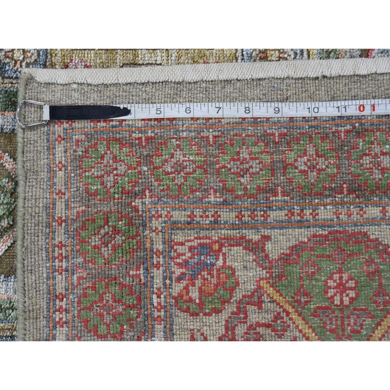 Hand Knotted Mamluk Design Silk with Oxidized Wool Oriental Rug For Sale 5
