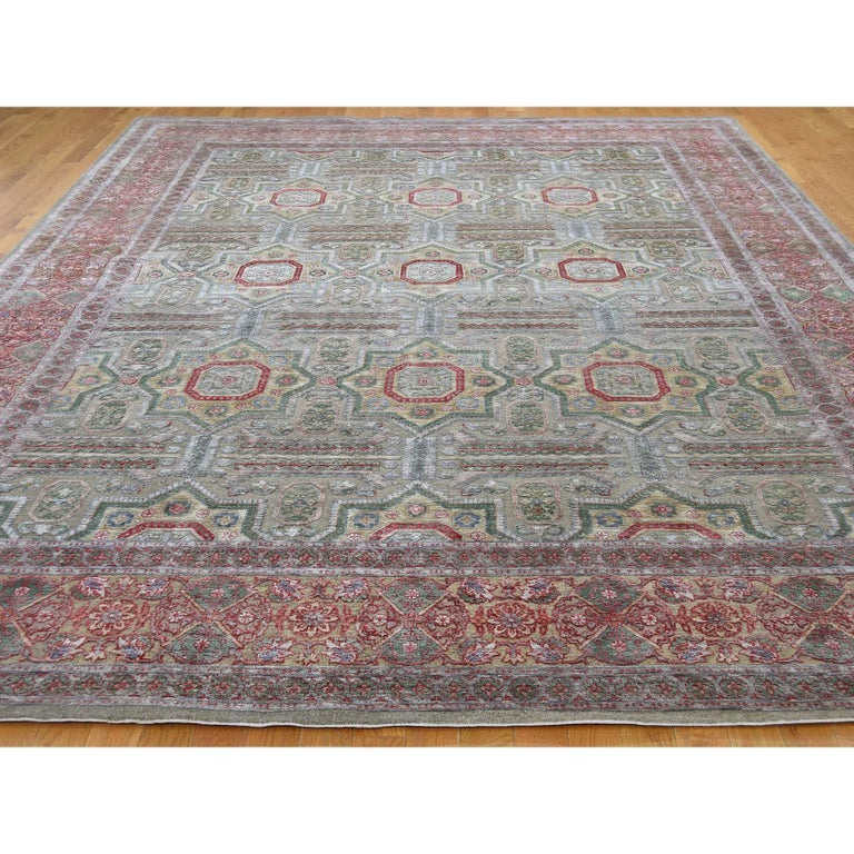 Modern Hand Knotted Mamluk Design Silk with Oxidized Wool Oriental Rug For Sale