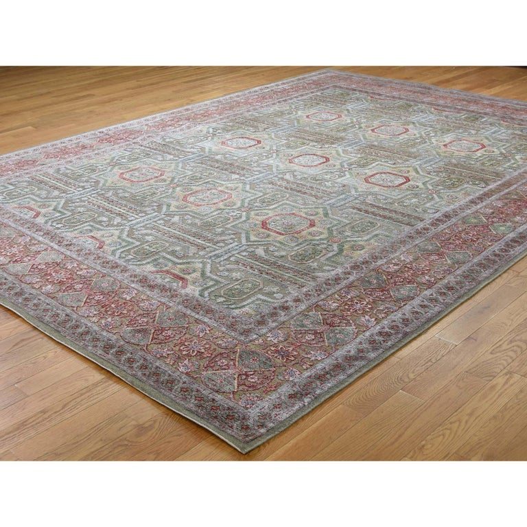 Afghan Hand Knotted Mamluk Design Silk with Oxidized Wool Oriental Rug For Sale