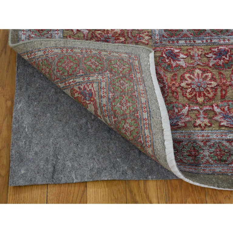 Hand-Knotted Hand Knotted Mamluk Design Silk with Oxidized Wool Oriental Rug For Sale