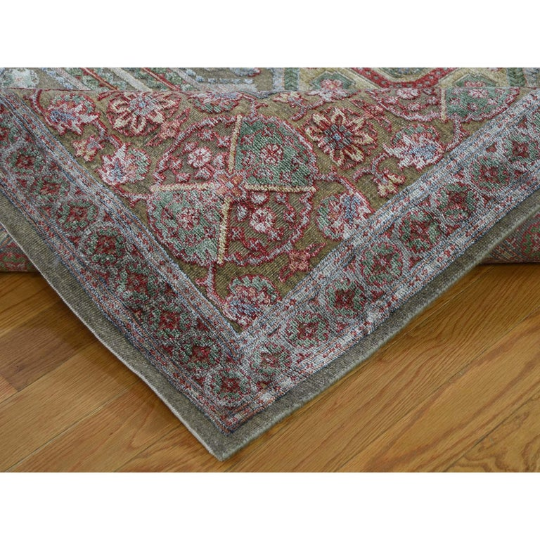 Contemporary Hand Knotted Mamluk Design Silk with Oxidized Wool Oriental Rug For Sale