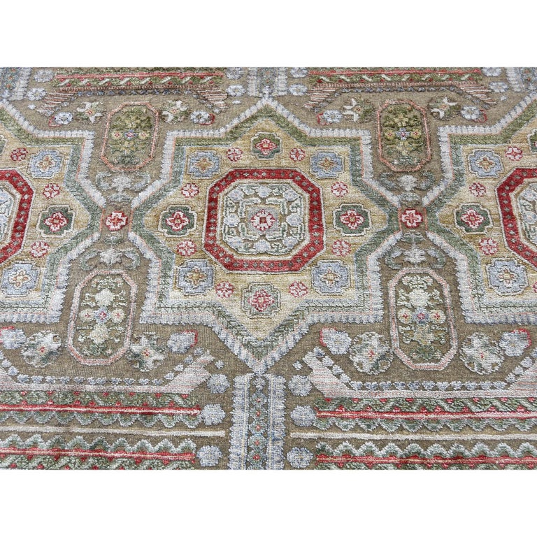 Hand Knotted Mamluk Design Silk with Oxidized Wool Oriental Rug For Sale 2
