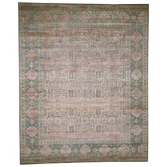 Hand Knotted Mamluk Design Silk with Oxidized Wool Oriental Rug