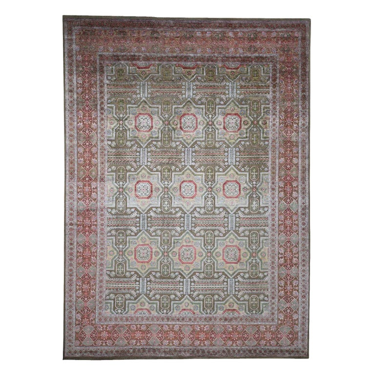 Hand Knotted Mamluk Design Silk with Oxidized Wool Oriental Rug For Sale