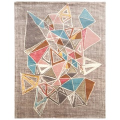 Hand Knotted Mid-Century Modern Style Rug in Gray by Rug & Kilim