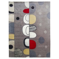 Rug & Kilim's Hand Knotted Mid-Century Modern Style Rug in Silver Gray