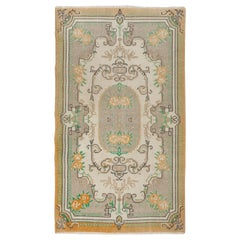 4x6.8 Ft Hand-Knotted Mid-Century Turkish Deco Accent Rug in Soft Colors