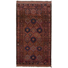 Hand Knotted Midcentury Vintage Baluch Rug, Burgundy Persian Tribal Pattern