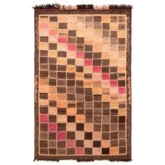 Hand Knotted Midcentury Vintage Gabbeh Rug in Beige Brown Geometric Pattern