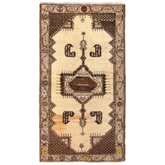 Hand Knotted Midcentury Vintage Oushak Runner in Beige Brown Medallion