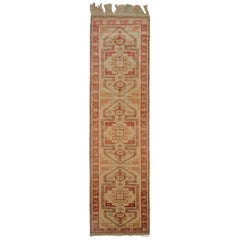 Hand Knotted Midcentury Vintage Runner, Kazak Rug in Beige Red Tribal Pattern