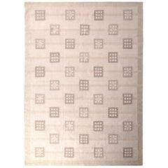 Hand Knotted Midcentury Scandinavian Style Rug Taupe Geometric Pattern