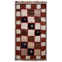 Hand Knotted Midcentury Vintage Gabbeh Rug, Beige Brown Geometric Pattern