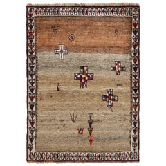 Hand Knotted Midcentury Vintage Gabbeh Rug, Beige Brown Persian Rug Design