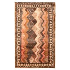 Hand Knotted Midcentury Vintage Gabbeh Rug, Beige-Brown Tribal Chevron Pattern