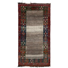 Hand Knotted Midcentury Vintage Gabbeh Rug in Gray Red Tribal Geometric Pattern