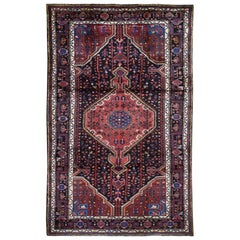 Hand Knotted Midnight Blue Persian Hamadan Pure Wool Oriental Rug