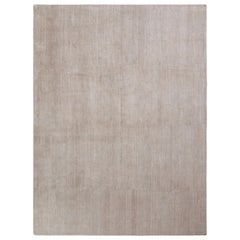 Hand Knotted Modern Rug in Beige Gray Solid Pattern by Rug & Kilim