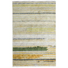 Hand Knotted Modern Rug in Green Gray and Gold Striped Pattern by Rug & Kilim