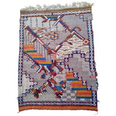 Hand Knotted Moroccan Berber Zanifi Area Rug Blue Red Orange Pattern