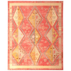 Hand Knotted Moroccan-Style Rug Red Gold Diamond Pattern by Rug & Kilim