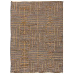 Hand Knotted Moroccan Wool Rug with Tribal Design in Yellow and Brown