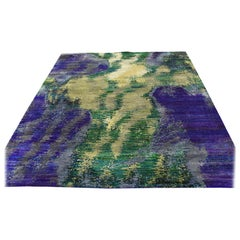 Hand Knotted Multicolored Sari Silk Abstract Design Oriental Rug