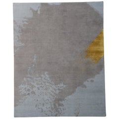 Hand-Knotted, Naturally Soft Wool, Contemporary, Abstract Rug 'Blue/Gray/Gold'