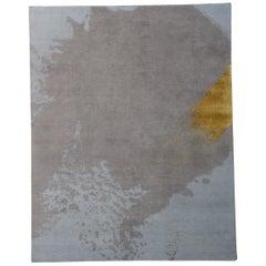 Handgeknüpfte, natürlich weiche Wolle, zeitgenössisch, abstrakt Läufer 'blau / grau / gold'