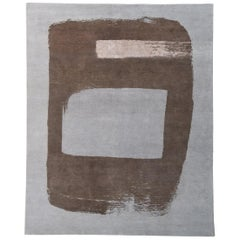 Contemporary, Abstract Rug, Hand-Knotted, Naturally Soft Wool,  Grey Brown Nude