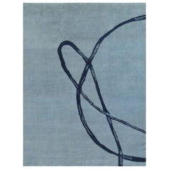 Abstract Rug, Hand-Knotted, Contemporary, Light Blue Navy, Naturally Soft Wool