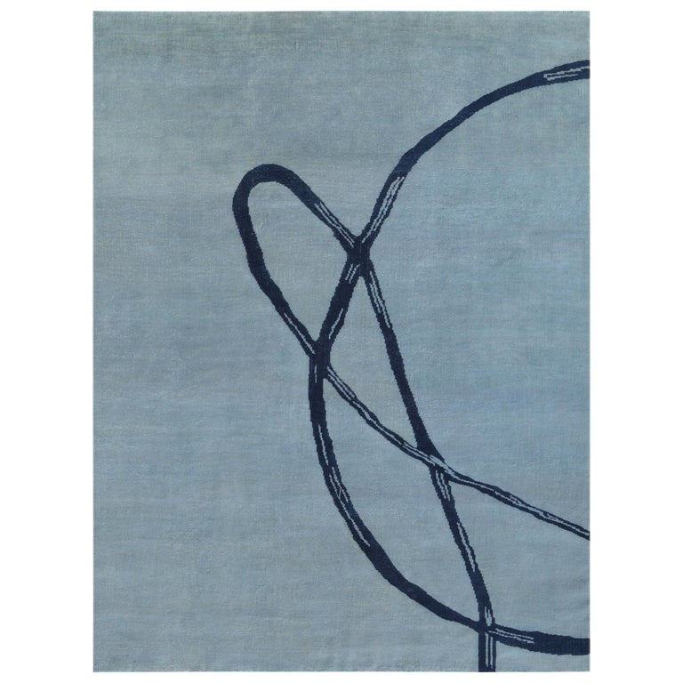 Light Blue with Navy Post Modern Hand-Knotted Wool Rug in Japanese Design For Sale