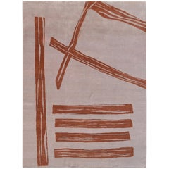 Contemporary Rug, Abstract Pattern, Hand-Knotted, Soft Wool, Light Pink Brown
