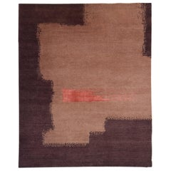 Hand-Knotted Abstract Rug, Contemporary Design, Soft Wool, Burgundy, Peach Coral