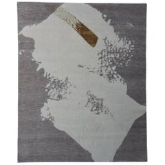 Abstract Rug, Hand-Knotted, Naturally Soft Wool, Contemporary, Taupe Beige Gold