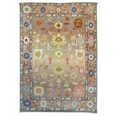 Hand Knotted Neutral Toned Modernized Oushak Rug by Gordian Rugs