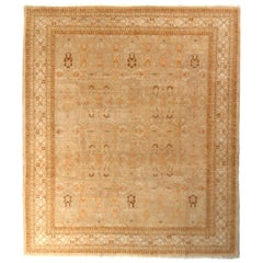 Hand Knotted New Agra Style Custom Rug in Beige Brown All-Over Pattern
