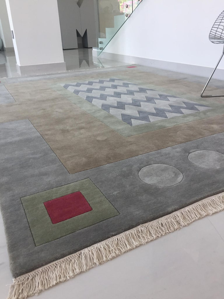 Modern Hand Knotted New Zealand Wool Rug Neutral by Cecilia Setterdahl for Carpets CC For Sale