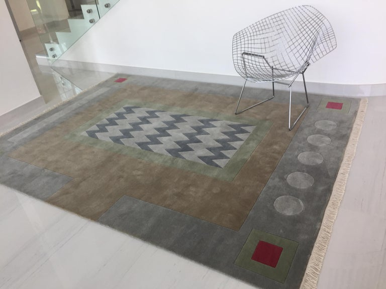 Hand Knotted New Zealand Wool Rug Neutral by Cecilia Setterdahl for Carpets CC In New Condition For Sale In Dubai, AE
