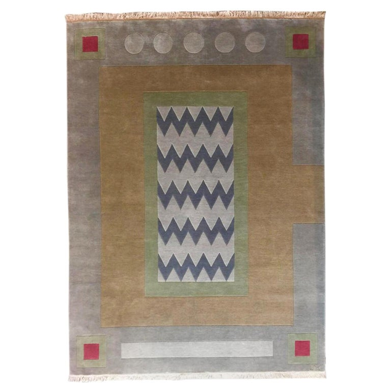 Hand Knotted New Zealand Wool Rug Neutral by Cecilia Setterdahl for Carpets CC For Sale