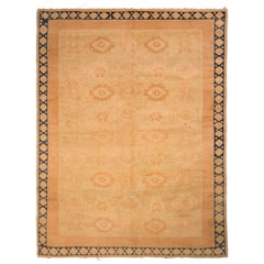 Hand Knotted Oushak Style Rug Beige Peach Geometric Pattern by Rug & Kilim