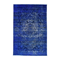 Hand Knotted Persian Bakhtiar Pure Wool Overdyed Vintage Rug